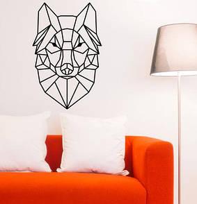 Интерьерная виниловая наклейка на стену Полигональный волк (волк, линии, голова, самоклейка)