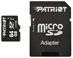Карта памяти Patriot Memory card Secure Digital Micro 64Gb, SDXC LX Series UHS-I (class 10) + Adapter (PSF64GMCSDXC100)