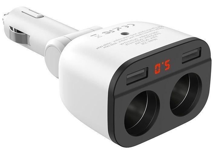 Автомобільний зарядний пристрій з перехідником прикурювача Hoco Z28 Power Ocean 2 USB + 2 Cigarette Lighter Ports + Digital Display White