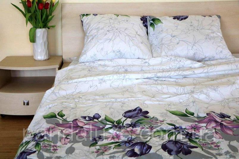 Постельное белье бязь голд, двуспальный евро комплект Цветочки, фото 2
