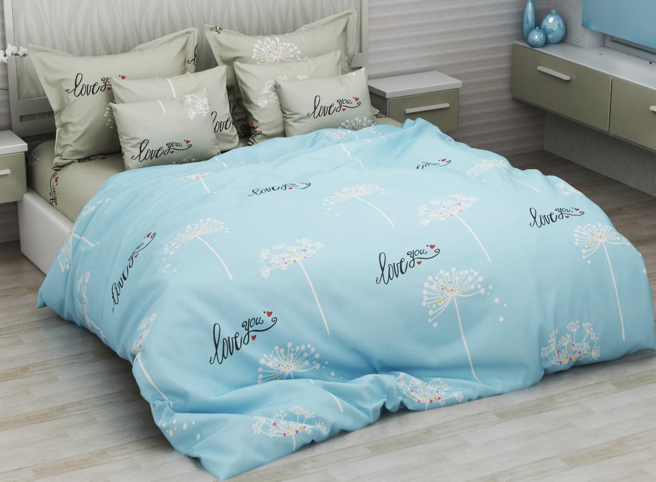 Комплект постельного белья евро на резинке 200*220 хлопок (14606) TM KRISPOL Украина