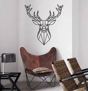 Интерьерная виниловая наклейка на стену Полигональный олень (олень, линии, голова, самоклейка)