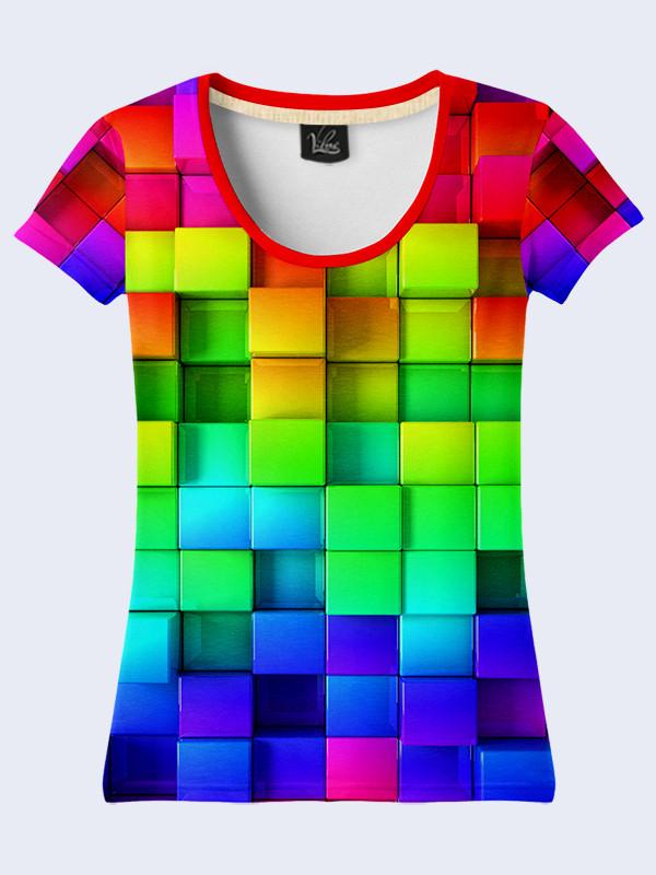 3D Футболка Разноцветные кубики (Размер: M(46), Фасон: Женский)