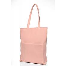 Стильная женская сумка шоппер с большим карманом на молнии и двумя ручками матовая экокожа пудра