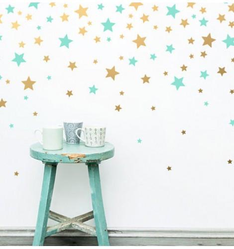 Набор самоклеющихся наклеек на стену Звезды, 100 штук (виниловые звездочки)
