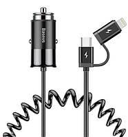 Автомобильное зарядное устройство  Baseus Enjoy Together 2-in-1 1USB, 2.4A Black, фото 1