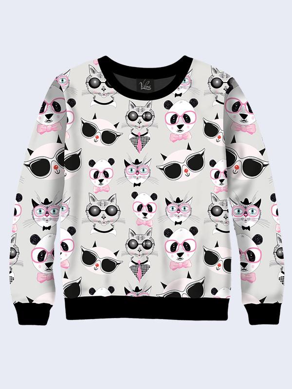 Свитшот Котики и панды (Размер: L(48), Фасон: Женский)