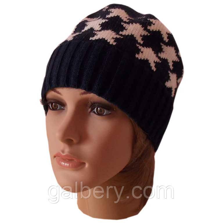"""Вязаная женская шапка-носок в этническом стиле с орнаментом """"звездочки"""""""