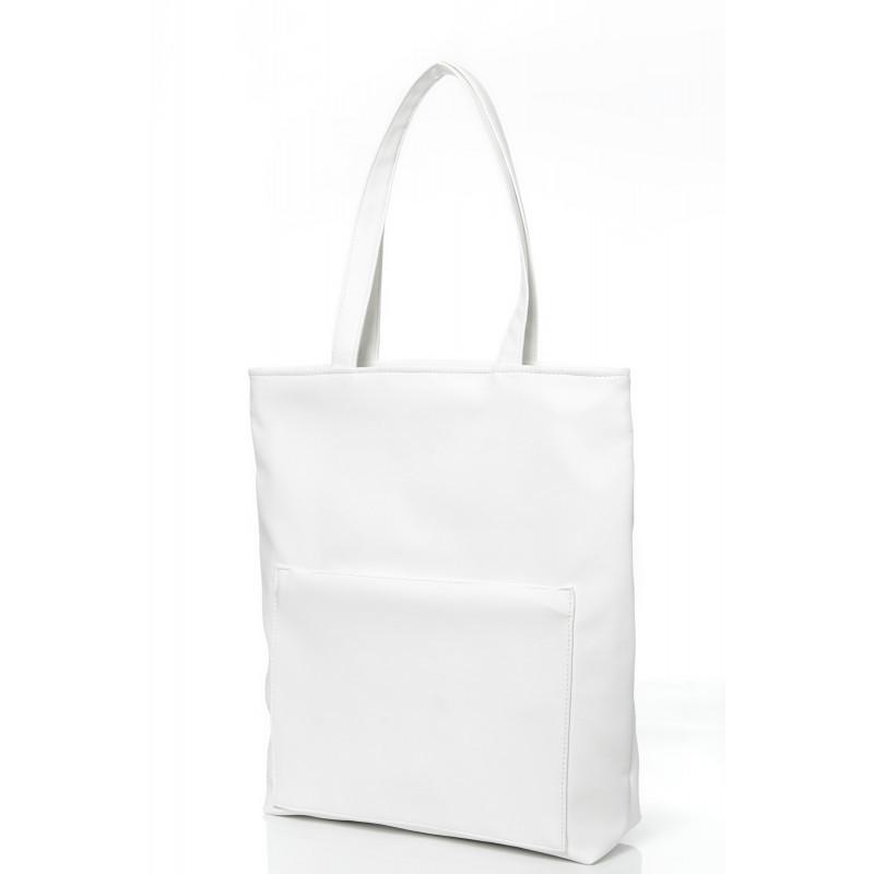 Модная белая женская сумка шоппер с большим карманом на молнии и двумя ручками матовая экокожа