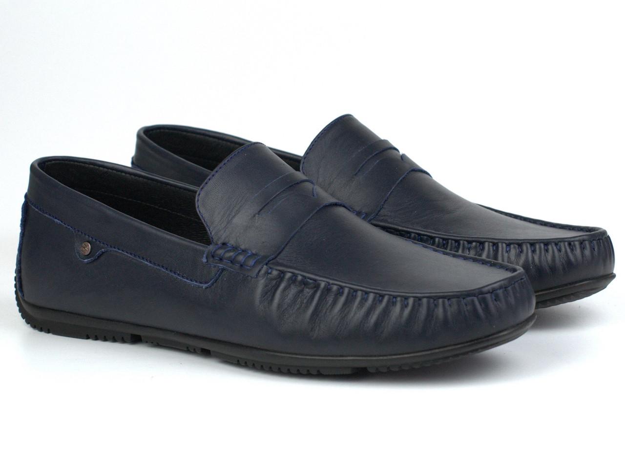 Мужская обувь больших размеров мокасины мужские кожаные синие ETHEREAL BS Classic Blu by Rosso Avangard