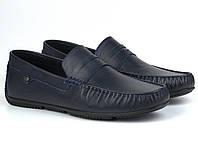 Мужская обувь больших размеров мокасины мужские кожаные синие ETHEREAL BS Classic Blu by Rosso Avangard, фото 1