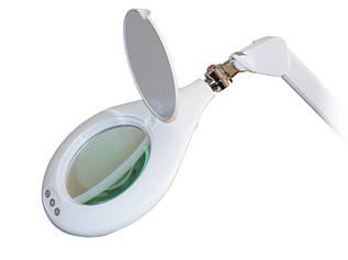 Лампа лупа косметологическая на струбцине для врачей косметологов, для маникюра мод. 8066 U-5D LED (5 диопт.)