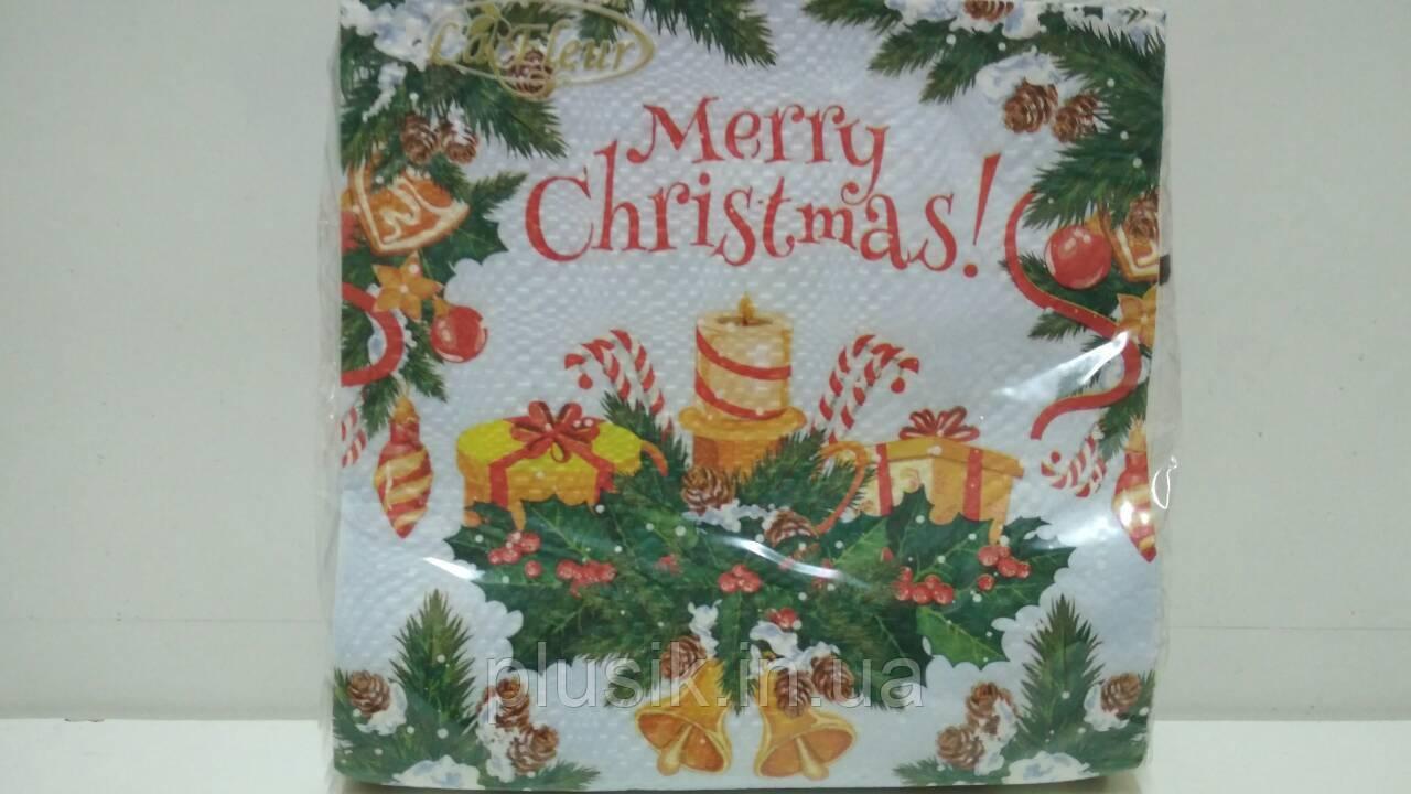 Серветка (ЗЗхЗЗ, 20шт) La FleurНГ Різдвяна ікебана(321) (1 пач.)