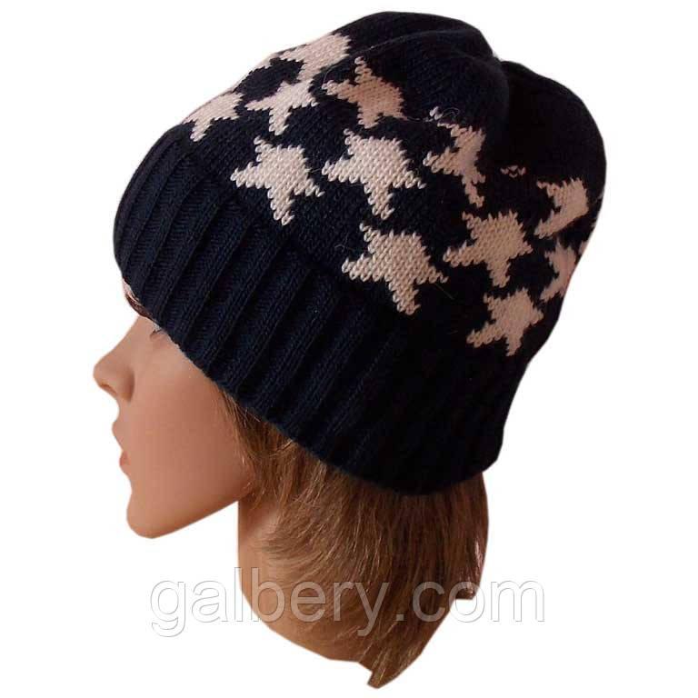 """В'язана жіноча шапка-носок в етнічному стилі з орнаментом """"зірочки"""""""