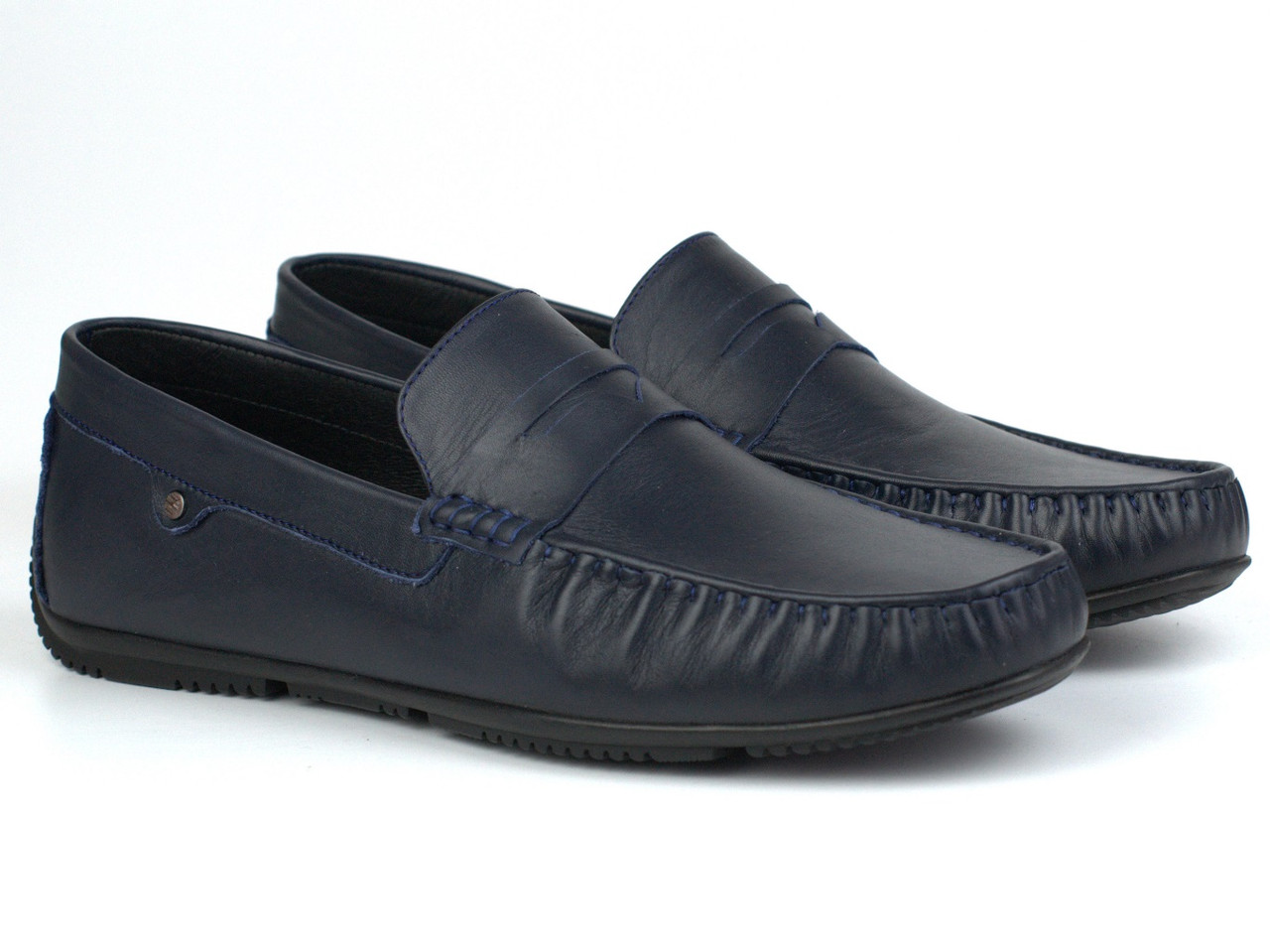 Мужские мокасины синие кожаные стильные обувь весенняя ETHEREAL Classic Blu by Rosso Avangard