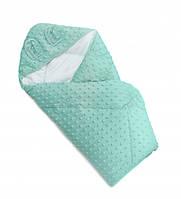 Детский плед - конверт в кроватку силиконовый Twins Minky Ушки 80х80 см., мятный