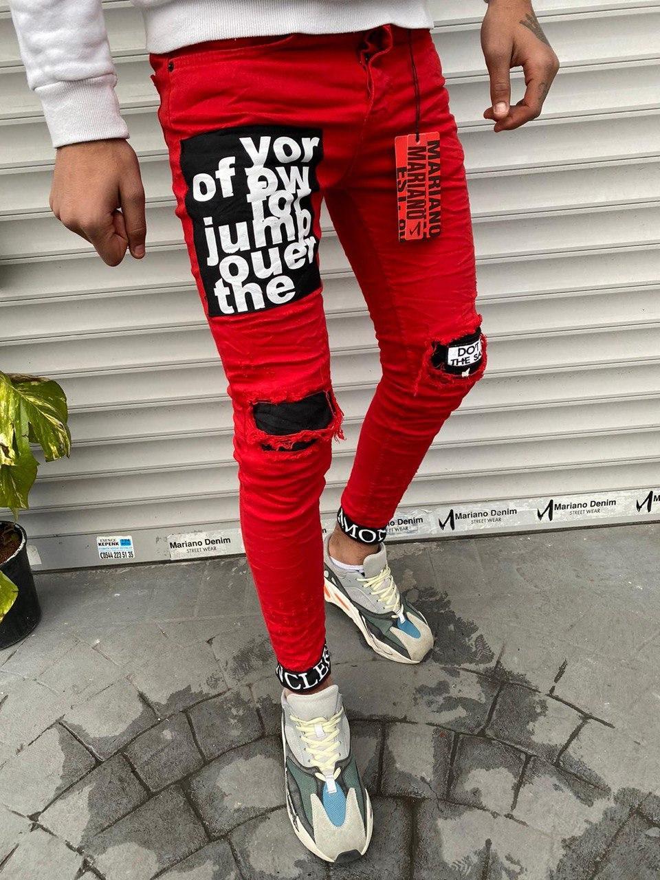 Джинси - чоловічі червоні оригінальні джинси із нашивками
