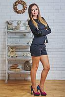 Костюм женский жакет с шортами т-серый, фото 1