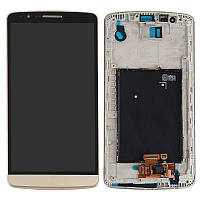 Дисплей (экран) для телефона Lg G3 Stylus D690 + Touchscreen with frame (original) Gold