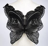 Аппликация для одежды полупрозрачная черная Бабочка