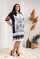 Шикарное платье с принтом черное, фото 1