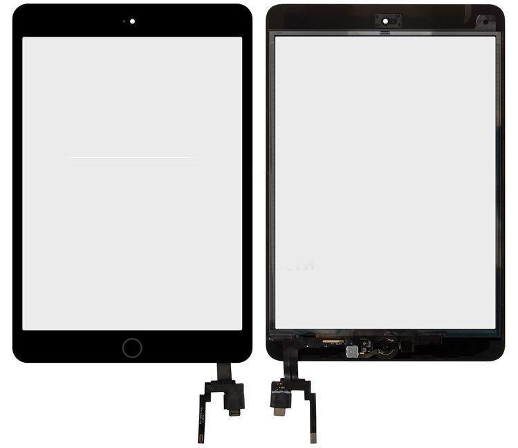 Сенсор (тачскрин) Apple iPad Mini 3 Retina (A1599, A1600, полный комплект с кнопкой Home) (high copy) Black