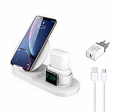 Беспроводное зарядное устройство Fast Charge 3 в 1 Type-C и блоком питания Белый (FC-w)