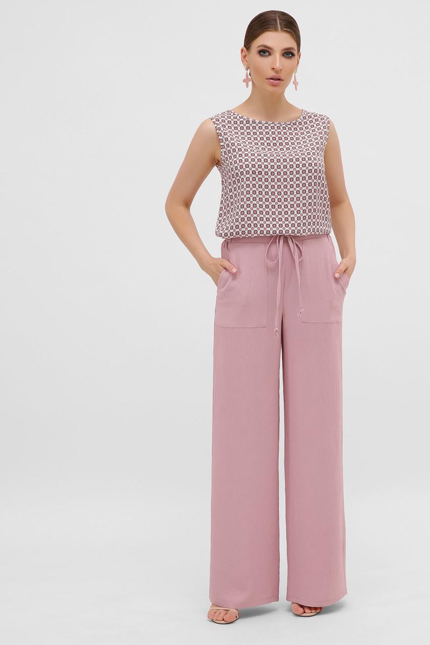 Шикарные легкие широкие летние брюки палаццо широкие из натуральной ткани размер 42-50