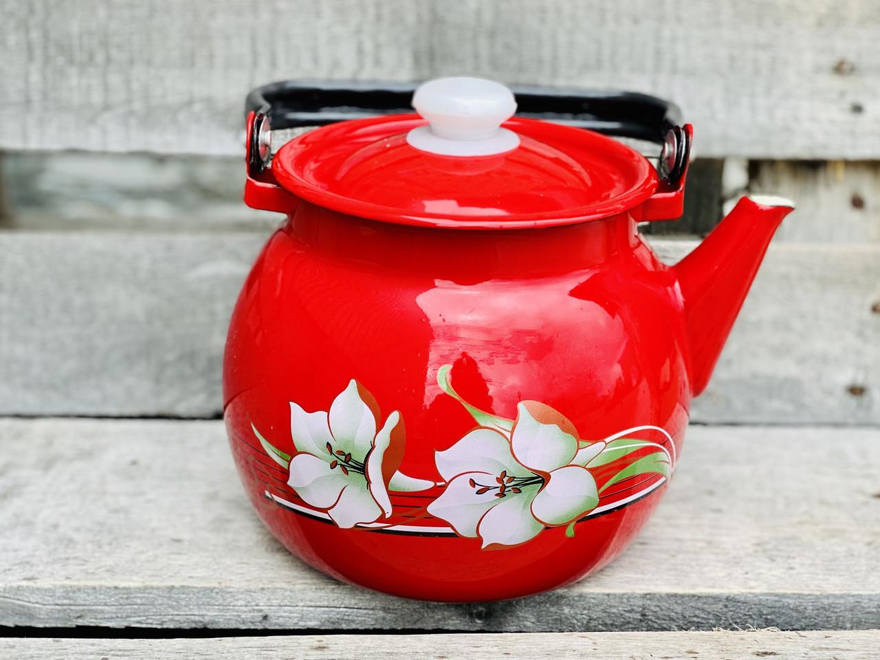 Чайник эмалированный 3,5л Красная лилия 2713/4 Idilia