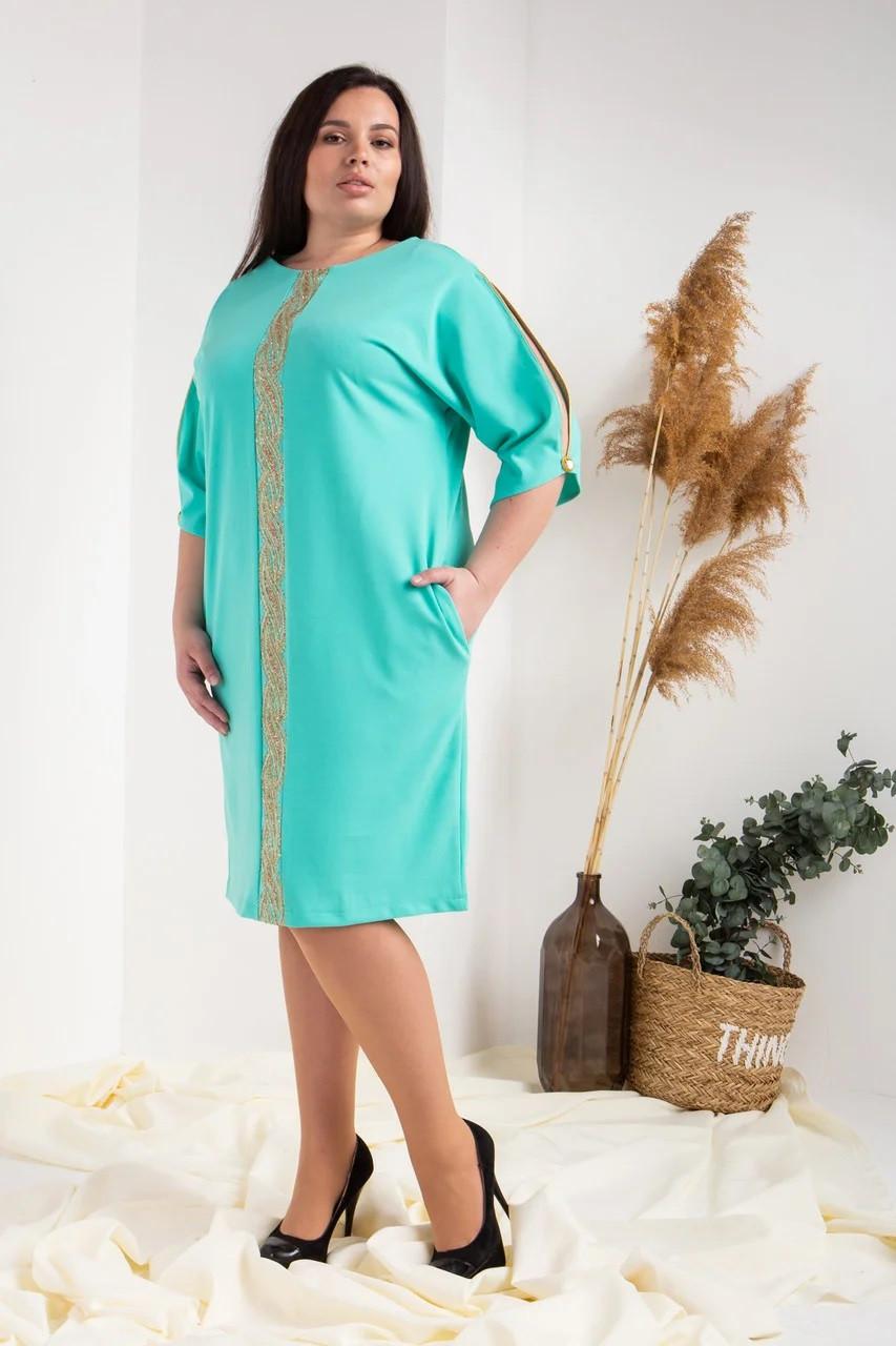 Елегантне плаття декорований мереживом бірюзове