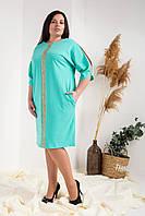 Елегантне плаття декорований мереживом бірюзове, фото 1