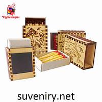 Сувенірні дерев'яні сірники з різними написами, фото 1