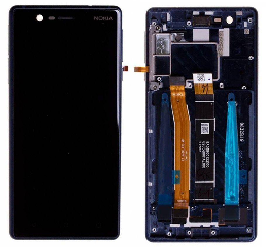 Дисплей Nokia 3 Dual Sim TA-1032 + Touchscreen with frame (original) Blue