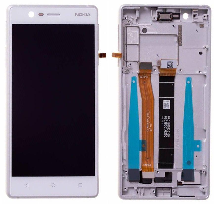 Дисплей (екран) для телефону Nokia 3 Dual Sim TA-1032 + Touchscreen with frame (original) White