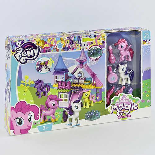 Конструктор светящийся 5720 (12) Замок Пони, 59 крупных деталей, в коробке