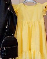 Детское жёлтое платье из натуральной ткани, фото 1