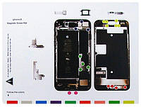 Магнитный мат для раскладки винтов и запчастей при разборке Apple iPhone 8  MECHANIC