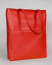 Стильная женская красная сумка шоппер с большим карманом на молнии и двумя ручками матовая экокожа