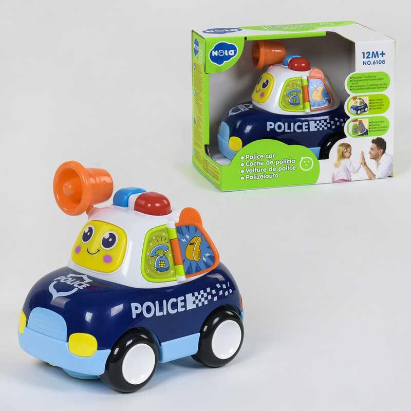 """Машинка музыкальная """"Полиция"""" 6108 (18) световые и звуковые эффекты, на батарейках, в коробке"""
