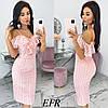 Изящное платье из прошвы на тонких бретелях (4 цвета) ЕФ/-546 - Розовый