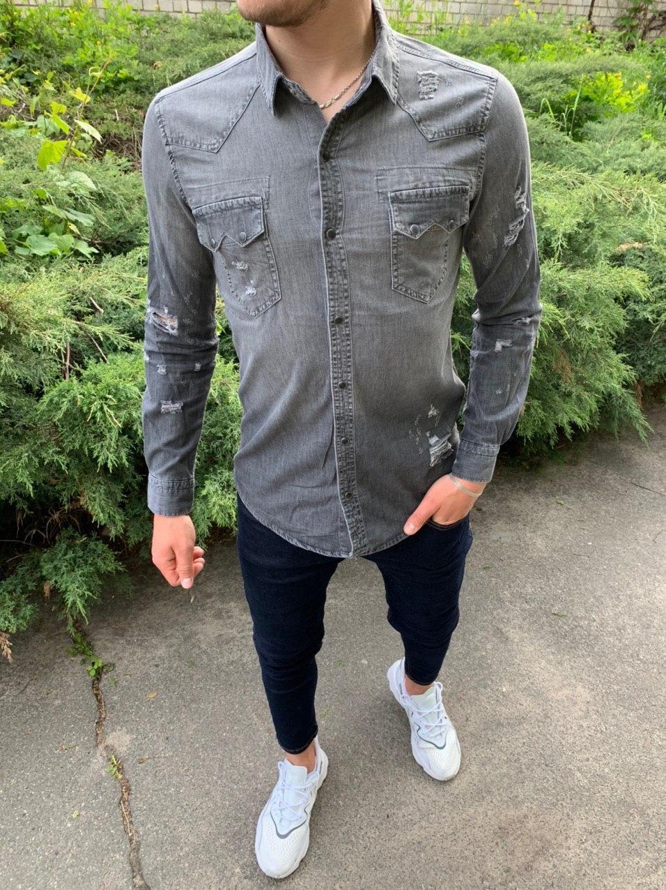 😜 Рубашка - Мужская серая джинсовая рубашка