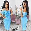 Изящное платье из прошвы на тонких бретелях (4 цвета) ЕФ/-546 - Голубой