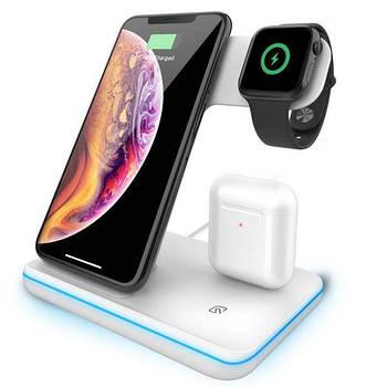 Бездротова зарядка підставка док-станція чорна Qi Wireless Charger Z5 3в1 для iPhone Apple Watch AirPods