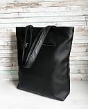 Вместительная женская черная сумка шоппер с большим карманом на молнии и двумя ручками матовая эко-кожа, фото 6