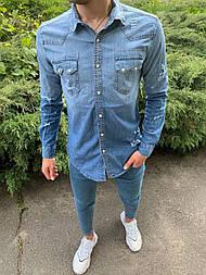😜 Рубашка - Мужская голубая джинсовая рубашка
