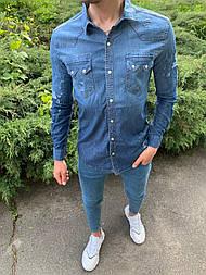 😜 Рубашка - Мужская синяя джинсовая рубашка
