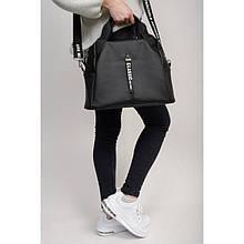 Стильная черная женская сумка кросс боди с двумя ручками и длинным ремешком через плечо