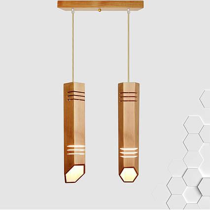 """Светильник подвесной на планке """"LIZA-2"""" Е27 подвес из дерева лофт в виде трубок LS0000506, фото 2"""