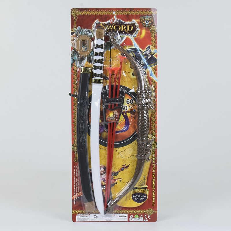 Рыцарский набор 531-1 В17 (60/2)  меч, лук со стрелами, на листе