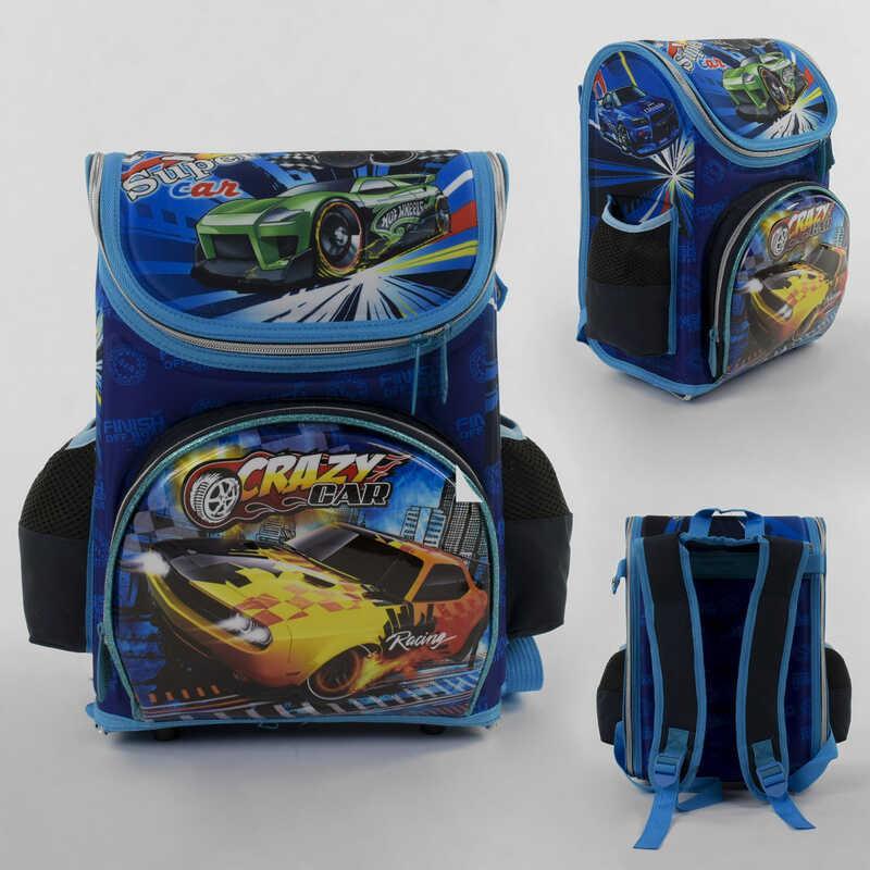 Рюкзак школьный каркасный С 43560 (36) 3D принт, 1 отделение, 3 кармана, ортопедическая спинка, в пакете